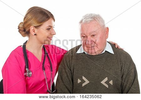 Picture of a depressed old man with her young doctor - isolated background