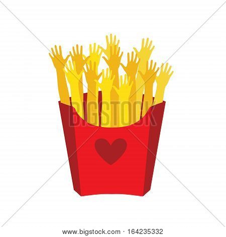French fries in a paper box,with  heart on upakovke isolated. Vector illustration. French fries fast food in a red package.