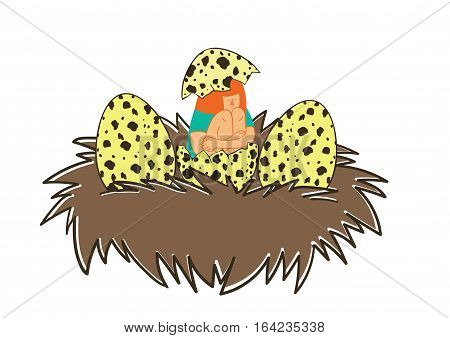Girl hatching out of birds ' nests. Cute funny vector illustration of hundred percent edit