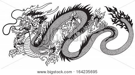 chinese dragon black and white vector tattoo