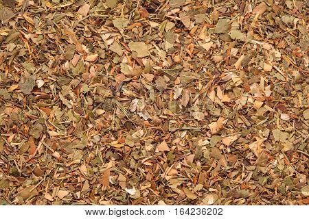 herbal dry tea mix texture background closeup