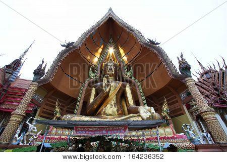 Big Buddha statue at Tiger Cave Temple, Wat Tham Sua, Kanchanaburi Province, Thailand.