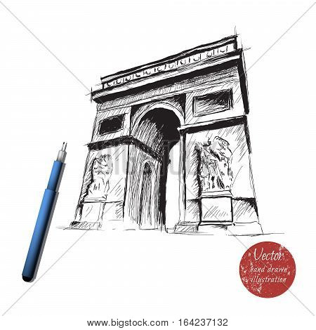 triumphal arch isolated on white background.Hand drawn style.Made by ink.Stock vector