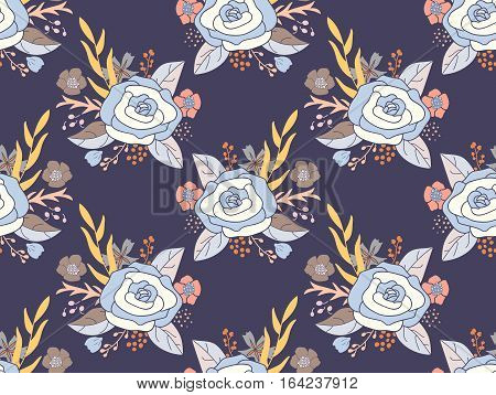 Seamless pattern of flower bouquets. Rose arrangements in shades of blue and white on dusty bluish purple background.