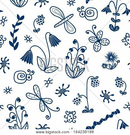 Seamless pattern of doodle flowers, butterflies, crawlies and bugs. Vector