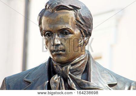 Ukrainian poet Taras Shevchenko monument in Vinnytsia, Ukraine