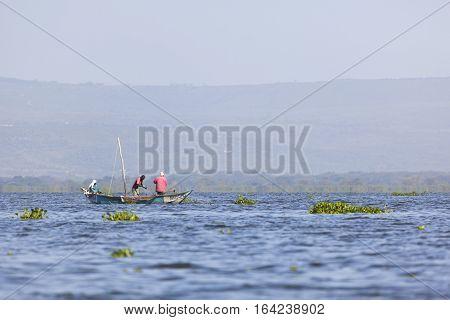 Naivasha Kenya - February 9: Local fishermen at Lake Naivasha Kenya on February 9 2013