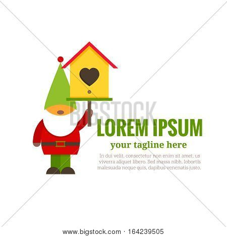 Garden gnome with nesting box and  place for the text. Logo of gardening and decoration of  garden. Symbol of  greeting and care. A vector illustration on  white background