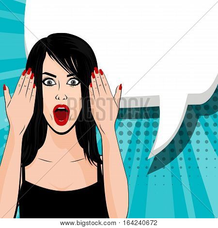 Indignant young sexy brunette girl pop art style. Human emotions face expression feelings. Vector illustration woman portrait, red lips, shocked emotion, empty speech bubble in comic book.