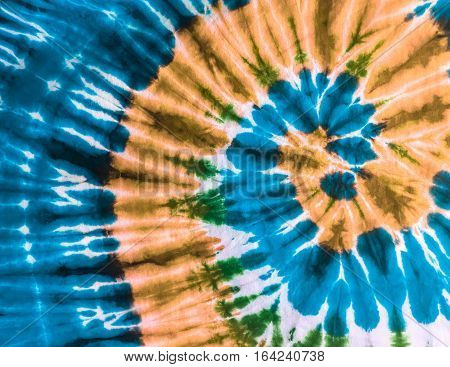Abstract Swirl handmade Design Tie Dye on the fabric.