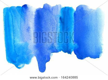 Blue watery illustration.Abstract watercolor hand drawn image. Azure splash. White background.