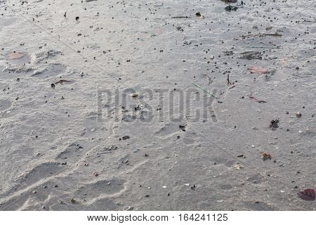 Close up view of mud texture for blur background