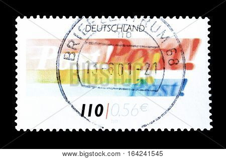 GERMANY - CIRCA 2001 : Cancelled postage stamp printed by Germany, that shows Post logo.