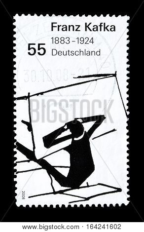 GERMANY - CIRCA 2008 : Cancelled postage stamp printed by Germany, that shows Franz Kafka.