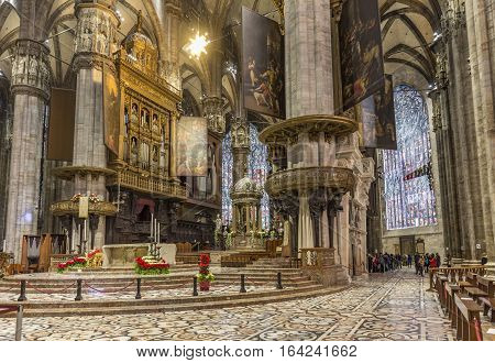 Interior Of Famous Milan Cathedral - Duomo