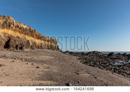 Small cliffs on la Pointe du Payre in the west coast of France in Vendee