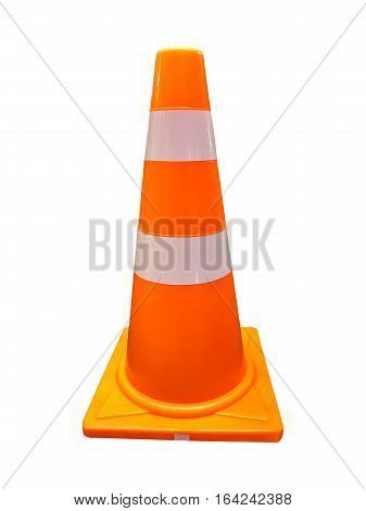Orange traffic road cone pylon isolated on white background