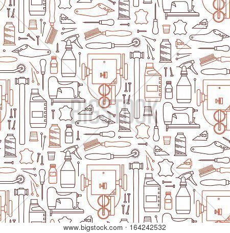 Vector seamless pattern of furrier tools. Print on white background. Icons set Workshop furrier. For website construction mobile applications banners corporate brochures layouts