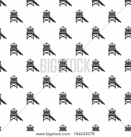 Rescue booth on beach pattern. Simple illustration of rescue booth on beach vector pattern for web