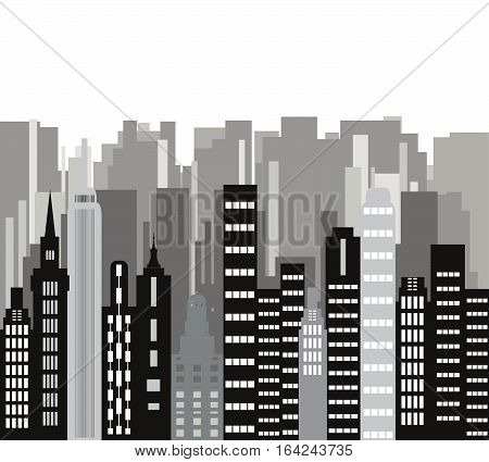 The city.Building vector.Skyscrapers in a major city.Cityscape background.Downtown with skyscrapers.City design elements.Flat design vector.