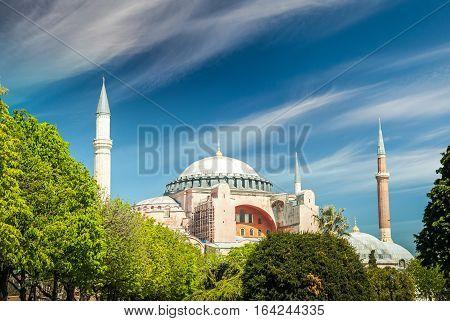 Hagia Sophia museum, Istanbul, Turkey. Aya Sofia mosque exterior.