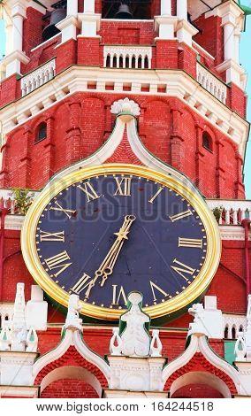 Kremlin chiming clock of the Spasskaya Tower. Moscow. Russia