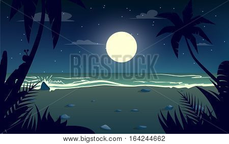 moonlight night at the beach.Cartoon style.Vector illustration
