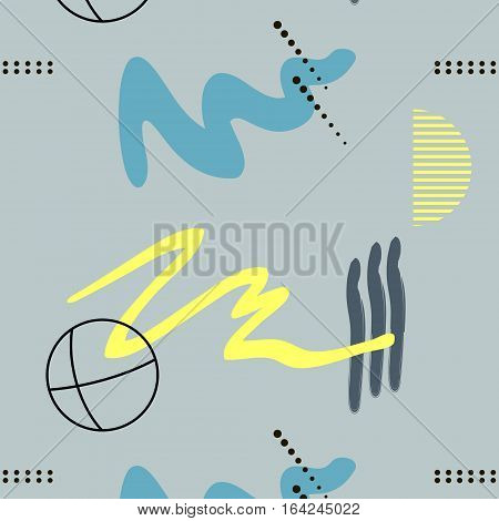 Contemporary memphis blue decoration. Hipster hand drawn yellow brush pattern. Stylish vector geometric strokes with circle fantasy print .Speed style art with color background