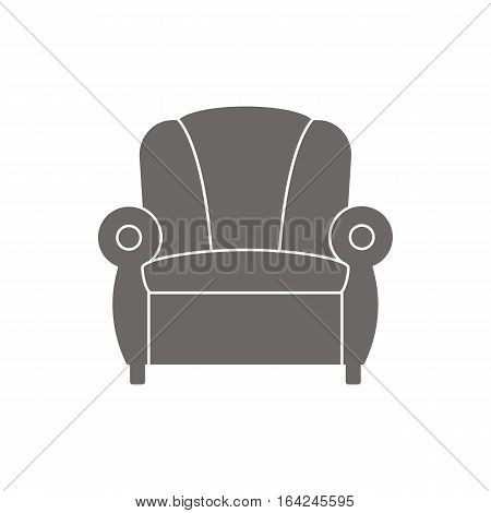 Icon recliner vector illustration. Dark outline on a white background.