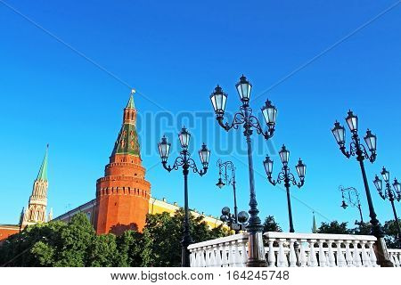 Old-fashioned street lamps in the summer Moscow near Kremlin, Russia