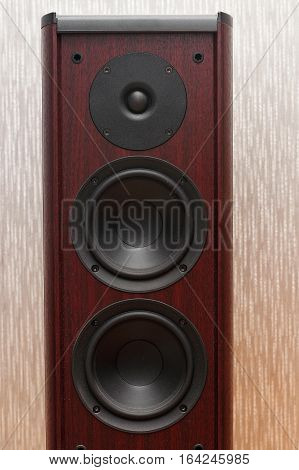 Acoustic wooden sound system with three speakers on the gray background.