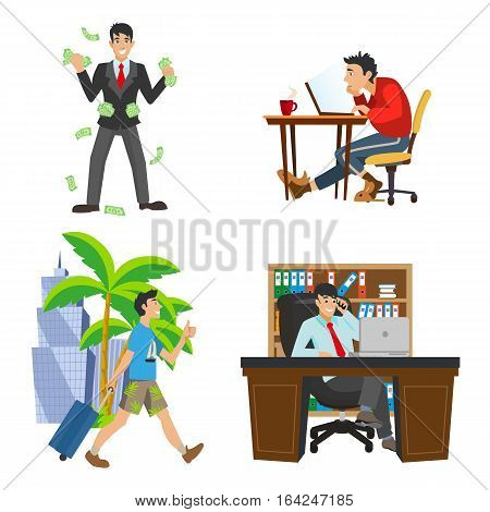 History of success - businessman character. The life of the unemployed to a rich man. Work and travel. Money rain of banknotes. Workplace boss