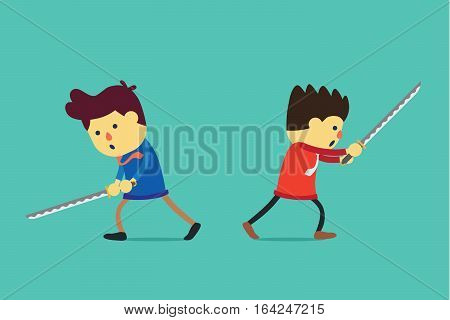 Businessman battle with sword. Business concept about competition with strategy.