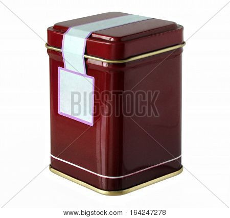 Claret metal packaging tin or box for tea coffee dry products with blank label isolated on a white background