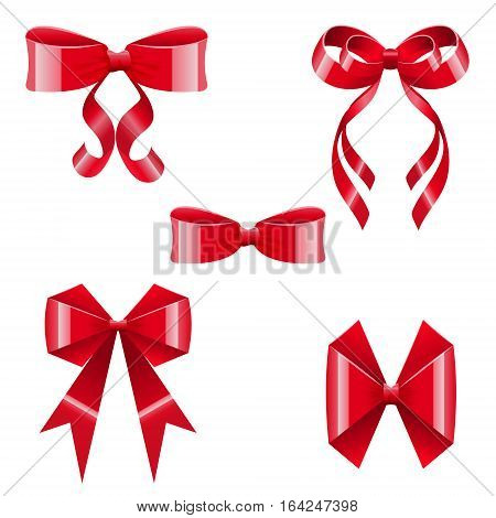 Brilliant silk red bows set. Isolated on white. Vector illustration for celebrations and sales.