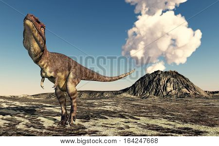 Computer generated 3D illustration with a volcano and the dinosaur Mapusaurus
