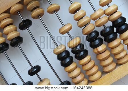 Retro Wooden abacus closeup for addition and subtraction
