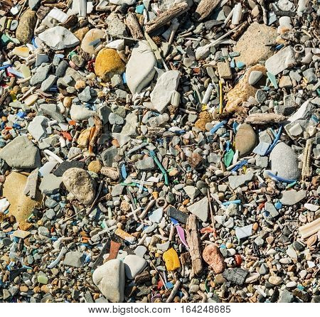 a lot of small trash on the beach