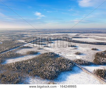 Aerial view of forest of plain and country road during a winter day.