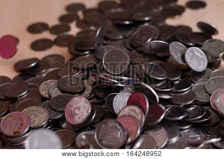 Ukrainian silver coins. stack of coins. Pyramid of money