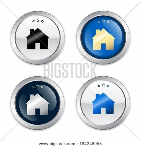 Real estate seals or icons with house symbol. Glossy silver seals or buttons.