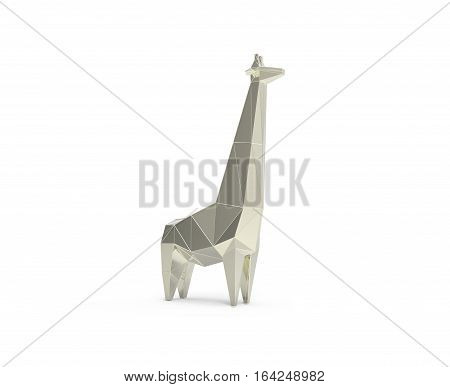 3d rendered illustration of low poly giraffe iron figure