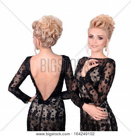 Beautiful blonde woman in elegant black low cut back evening dress with updo hairstyle. Front and back view isolated on white background