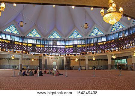 KUALA LUMPUR, MALAYSIA - NOVEMBER 9, 2014: Inside Malaysia National Mosque, Kuala Lumpur, Malaysia