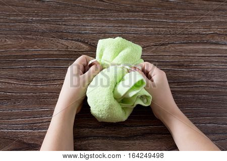 The Child Manufactures Origami Bunny Terry Cloth Towel Gift Birthday Or Easter. Children's Art Proje