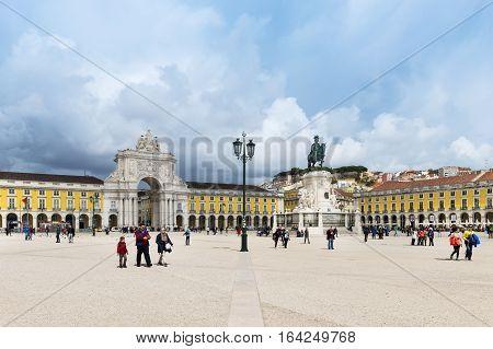 Lisbon Portugal - March 19 2016: View of the Comercio Square (Praça do Comércio) in Lisbon Portugal