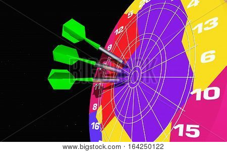 Computer generated 3D illustration with small missiles in a colorful dartboard