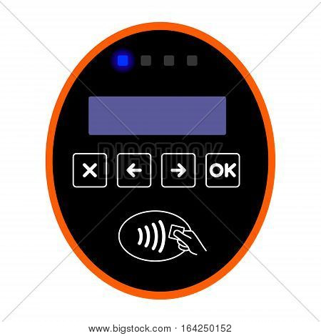 Orange ticket European bus, tram, train or trolleybus validator. Validation card system on modern public transport in Estonia isolated on white background EPS vector.