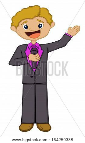 Young Presenter or Host Standing with Microphone Cartoon