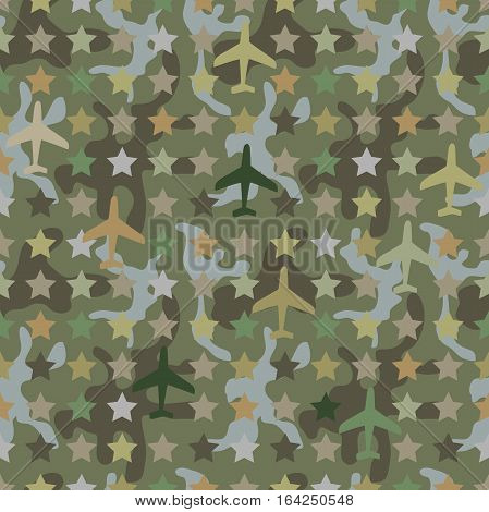 Seamless camouflage dark khaki pattern with stars and aircrafts. Man fashion. Military textile collection.